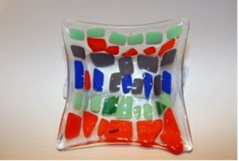 JESPY Shop Fused Glass Decorative Bowl - Small, Multicolor