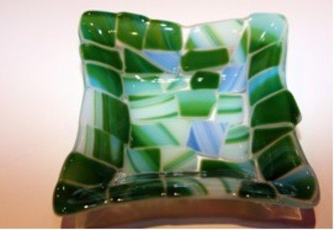 JESPY Shop Fused Glass Decorative Plate - Small, Green and Blue